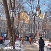 church visible from City Park on Deribasovskaya St. in snow -