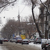 Pastera Street and church in snow -