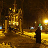 EPCO church from City Park on Deribasovskaya at night -