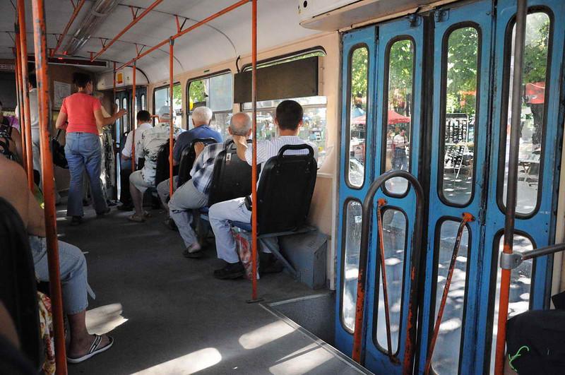 summertime in Odessa, Ukraine - interior of a VERY empty trolley