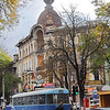 Trolley cars in front of our apartment on Soviet Army St., Odessa, Ukraine -