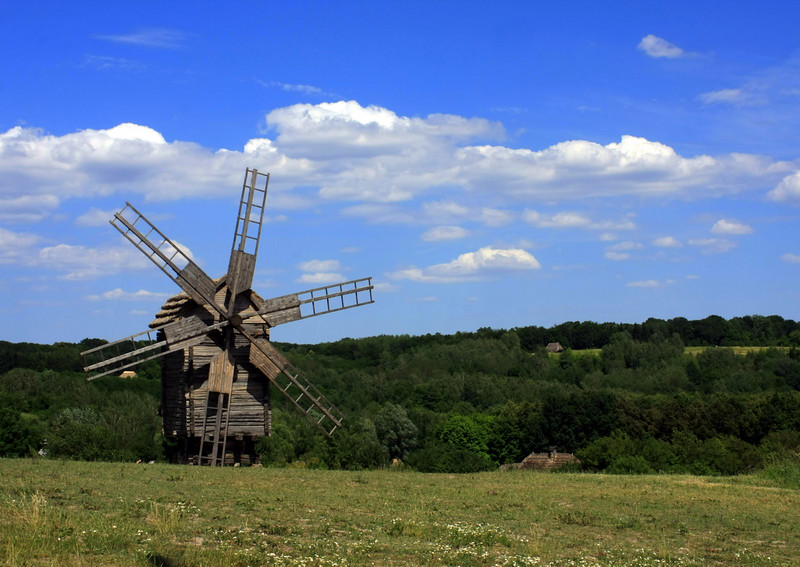 Windmill in Pyrohovo Museum of Folk Architecture in Kyiv, Ukraine