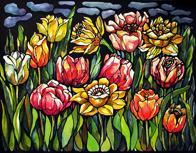 Title: Field of Tulips  Art Medium: Watercolor and Ink  Artist: © Anna Perun