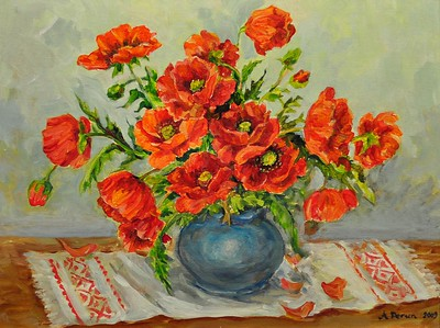Title: Red Poppies    Art Medium: Acrylic painting on Panel  Artist: © Anna Perun