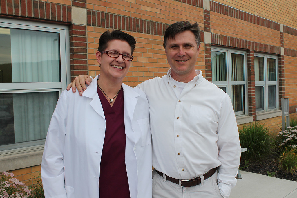. Ulster BOCES Surgical Technologist student Jae Bevan of New Paltz and her husband Vernon get ready to attend her graduation ceremony at the Port Ewen campus.