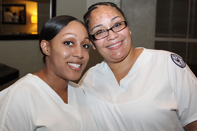 Ulster BOCES Adult Career Education Center's School of Practical Nursing students Clavia Jourdan of Poughkeepsie and Ashley Faulkner of Kingston pose for a picture moments before their commencement ceremony begins.
