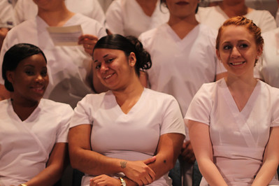 Ulster BOCES Adult Career Education Center's Practical Nursing students eagerly anticipate graduating the program and receiving their certificates and pins. From left to right: Shanakae Paul, Hudson; Lizzette Velez, Ellenville; and Monica Morton of Saugerties.