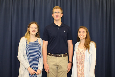 From left to right: Ellenville High School Principal's Award recipient Nadine Cafaro, Valedictorian Zachary Alexander, and Salutatorian Victoria Garritt.