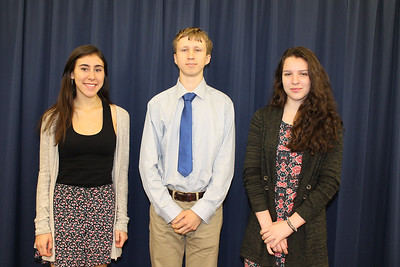 From left to right: Rondout Valley High School Principal's Award recipient Tara Abularrage, Valedictorian Caleb Heuvel-Horwitz, and Salutatorian Jessica Palmeri.