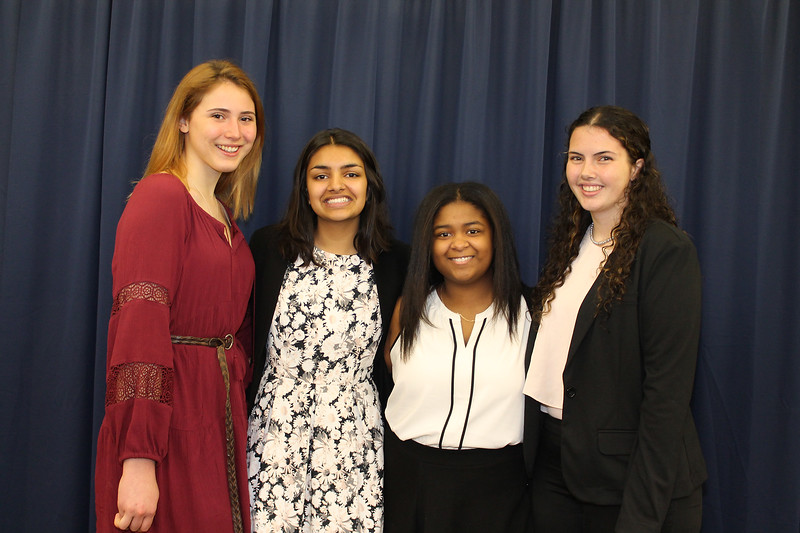 From left to right: Saugerties High School (SHS) Salutatorian Lilith Haig, SHS Principal's Award recipient Bhavreet Dhandi, Ulster BOCES Career & Technical Center Salutatorian from Saugerties High School Maya Gray, and SHS Valedictorian Anna Marie Armstrong.