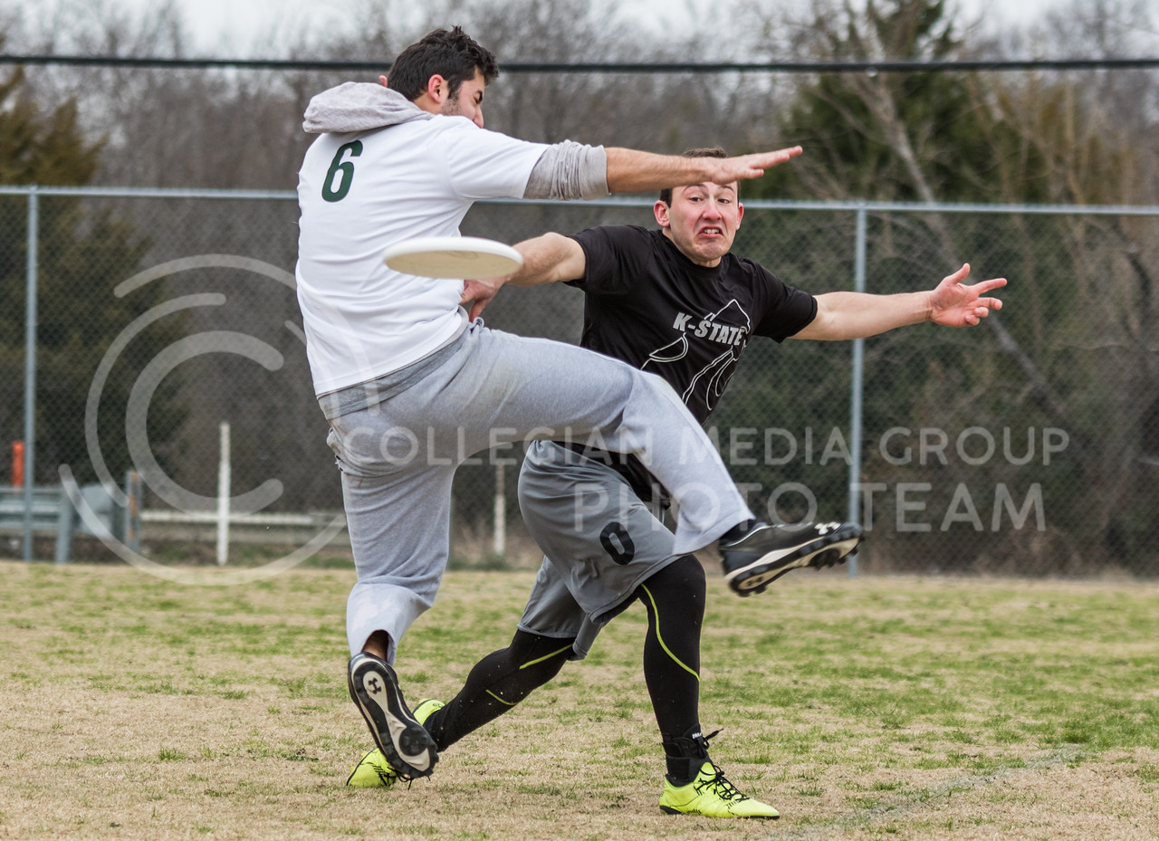 Senior in Animal Science, Nathan Witters makes a throw at the K-State Wizards' Ultimate Frisbee tournament in Denton, Texas on Feb. 4, 2017. (John Benfer   Royal Purple)