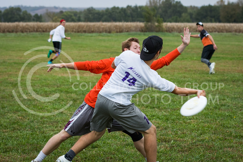 Senior in Information Systems, Drew Mechnig throws a disc against Oklahoma State in The Manhattan Project tournament in Manhattan, Kansas on Oct. 15, 2016. (John Benfer | Royal Purple)