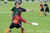 Coupe Junior 2013, Sablé sur Sarthe, France.<br /> U14. RFO (La Flotte en Ré)   vs Frisbeurs Nantais (Nantes)<br /> PhotoID : 2013-05-11-0050