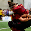 Riot (USA Women's) celebrate making the final at the conclusion of the shortened indoor semi-final vs Molly Brown (USA Women's). 2018 World Ultimate Club Championships -- 20 July 2018