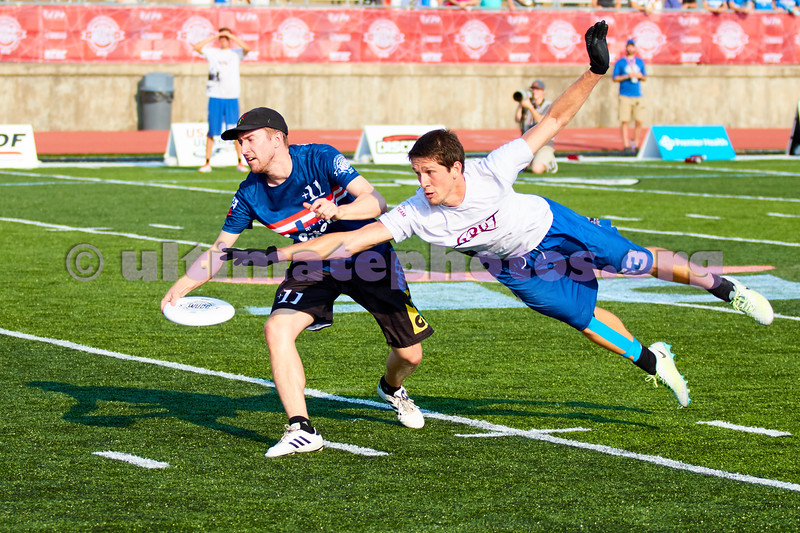 Opening game GRUT (Netherlands Mixed) vs Wild Card (USA Mixed) at the showcase field. 2018 World Ultimate Club Championships -- 14 July 2018