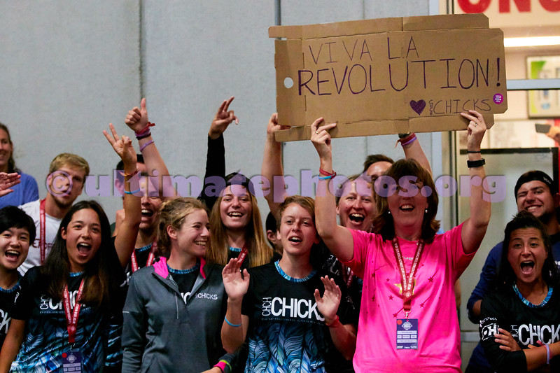 Crowd support for Revolution (COL Women's) in the Women's final against Riot (USA Women's) at the indoor stadium. 2018 World Ultimate Club Championships -- 21 July 2018