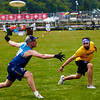 Macondo (Colombia Mixed) vs Charrua (Uruguay Mixed) during pool play. 2018 World Ultimate Club Championships, Lebanon Sport Complex -- 15 July 2018
