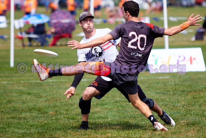 Ring of Fire (USA Men's) vs Colony (Australia Men's) in the quarterfinals. 2018 World Ultimate Club Championships, Lebanon Sport Complex -- 19 July 2018