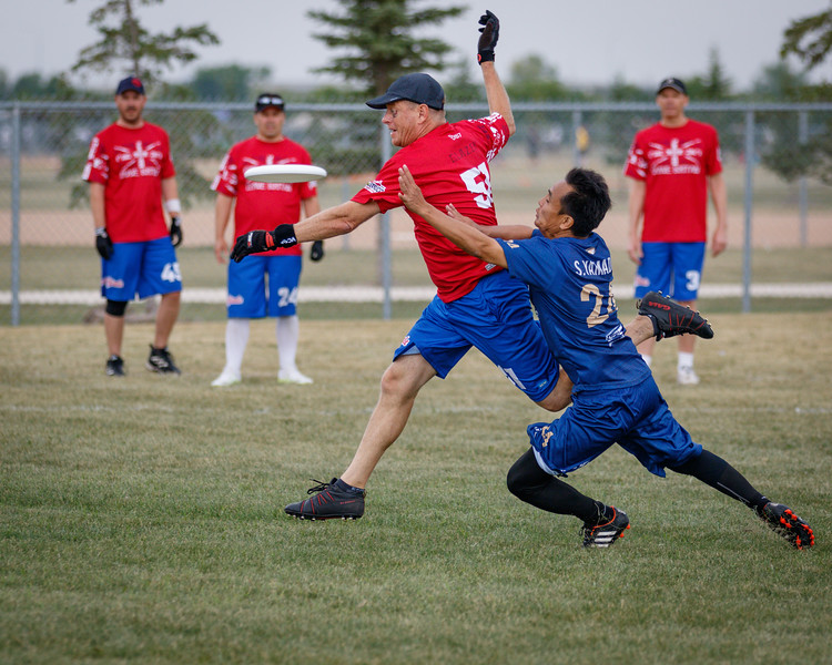 Winnipeg, Canada: Grand Masters, Big Bombers vs Grave Brittain at WMUCC. July 31, 2018.© 2018 Robert Engelbrecht. All rights reserved