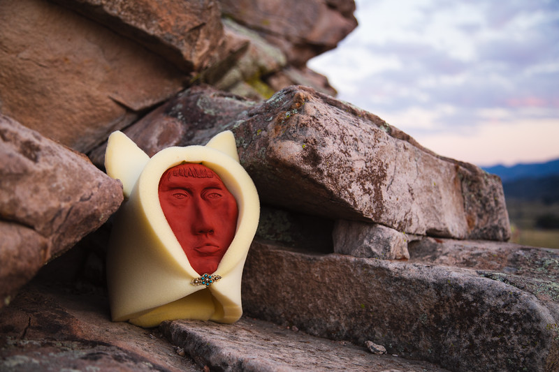 Coyote Face Sculpture by White River Ute and White Mountain Apache Contemporary Artist, Chelsea James