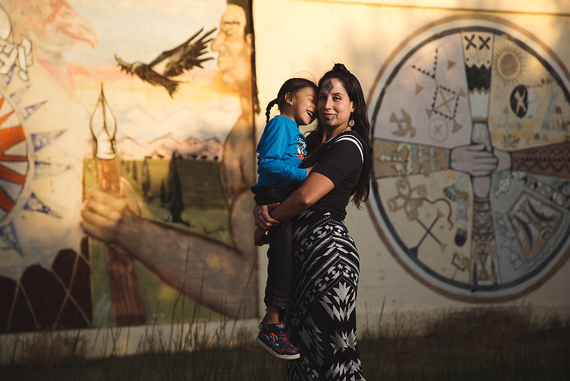 Stephanie Big-eagle and her son Ezekiel, Lakota Native American