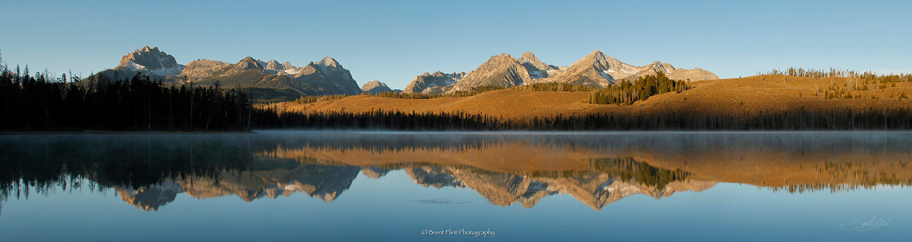 DF.3382 - Sawtooth Mountains reflected in Little Redfish Lake at dawn, Sawtooth National Recreation Area, ID.