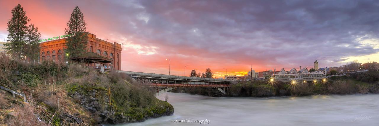 DF.4234 - Spokane Falls at sunset, Riverfront Park, Spokane, WA.