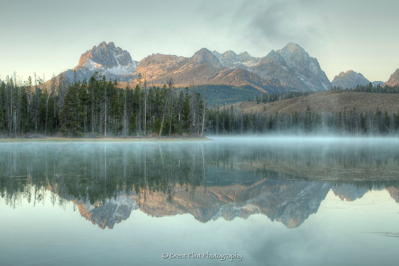 DF.3375 - Sawtooth Mountains reflected in Little Redfish Lake at dawn, Sawtooth National Recreation Area, ID.