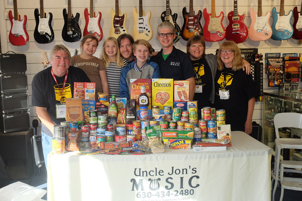 Restring for Food drive at Uncle Jon's Music, Westmont IL