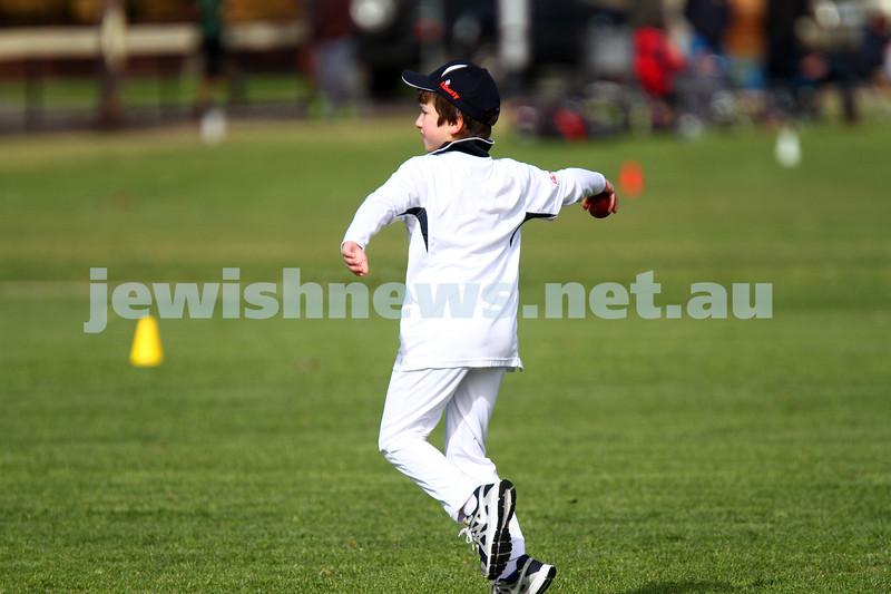 2-11-14. Under 11 Cricket. Maccabi Blue 1/104  def Maccabi White 8/31 at Caulfield park. Photo: Peter Haskin
