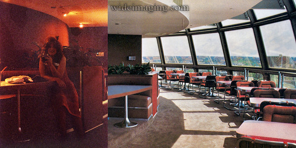Halloween 1982 the last day of the Fair, Hardee's restaurant on the Sunsphere's fourth level. The booth in this evening shot can be seen in the publicity photo.