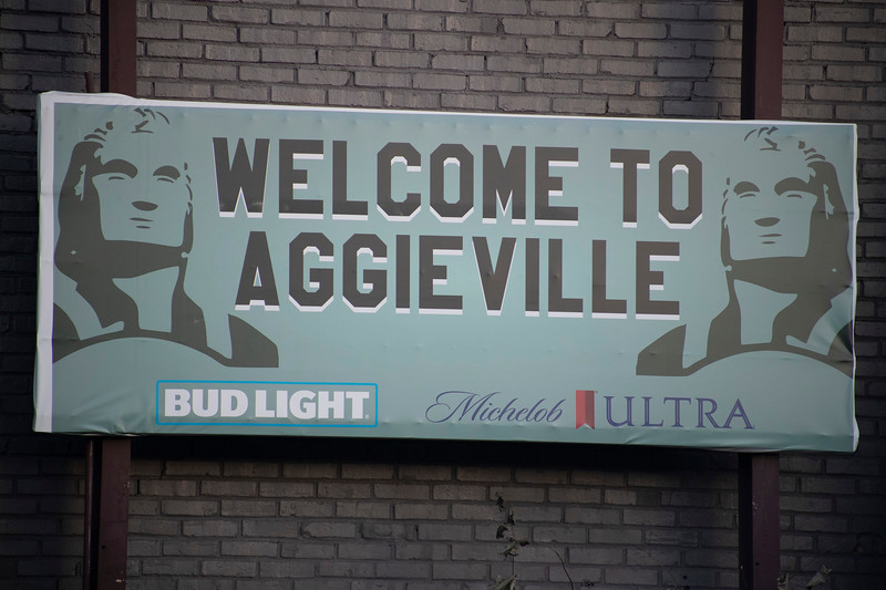 Welcome to Aggieville sign in Aggieville on November 18th 2019 (Dalton Wainscott I Collegian Media Group)