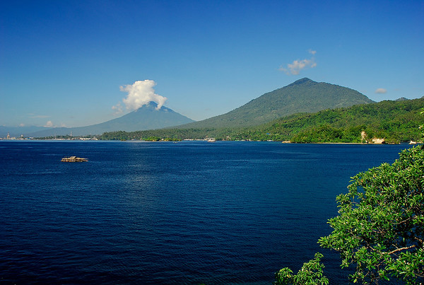 View across Lembeh Strait at mid-day
