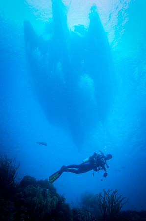 Diver under boat