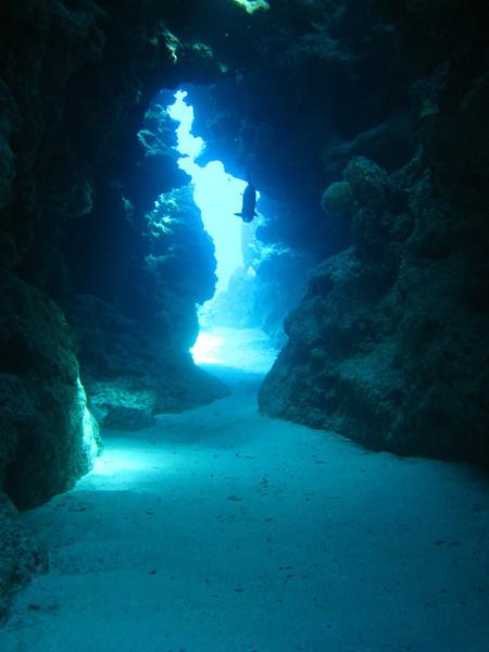 swim-through tunnel at Eden Rock.