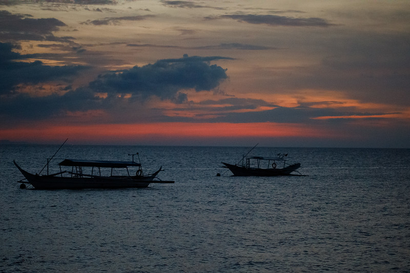 Some of the dive boats at sunset