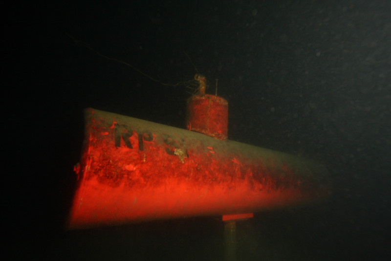 "One of the two submarines that sit in 85-90ft of water off ""The Store"" in OK Centre.  You only realize that it's red, not black, by bringing a divelight, or in this case, a strobe"