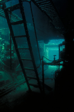 Engine Room of the Cartanser Sr. Little Buck Island, USVI  1992 New Jersey Council of Dive Clubs Underwater Photo Competition - Grand Prize 1992 Ford Seahorses Underwater Photography Competition - Sixth Place, Wrecks category