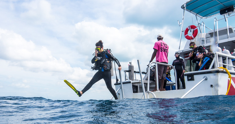 Diver properly entering the water in Nassau, Bahamas - February 2017