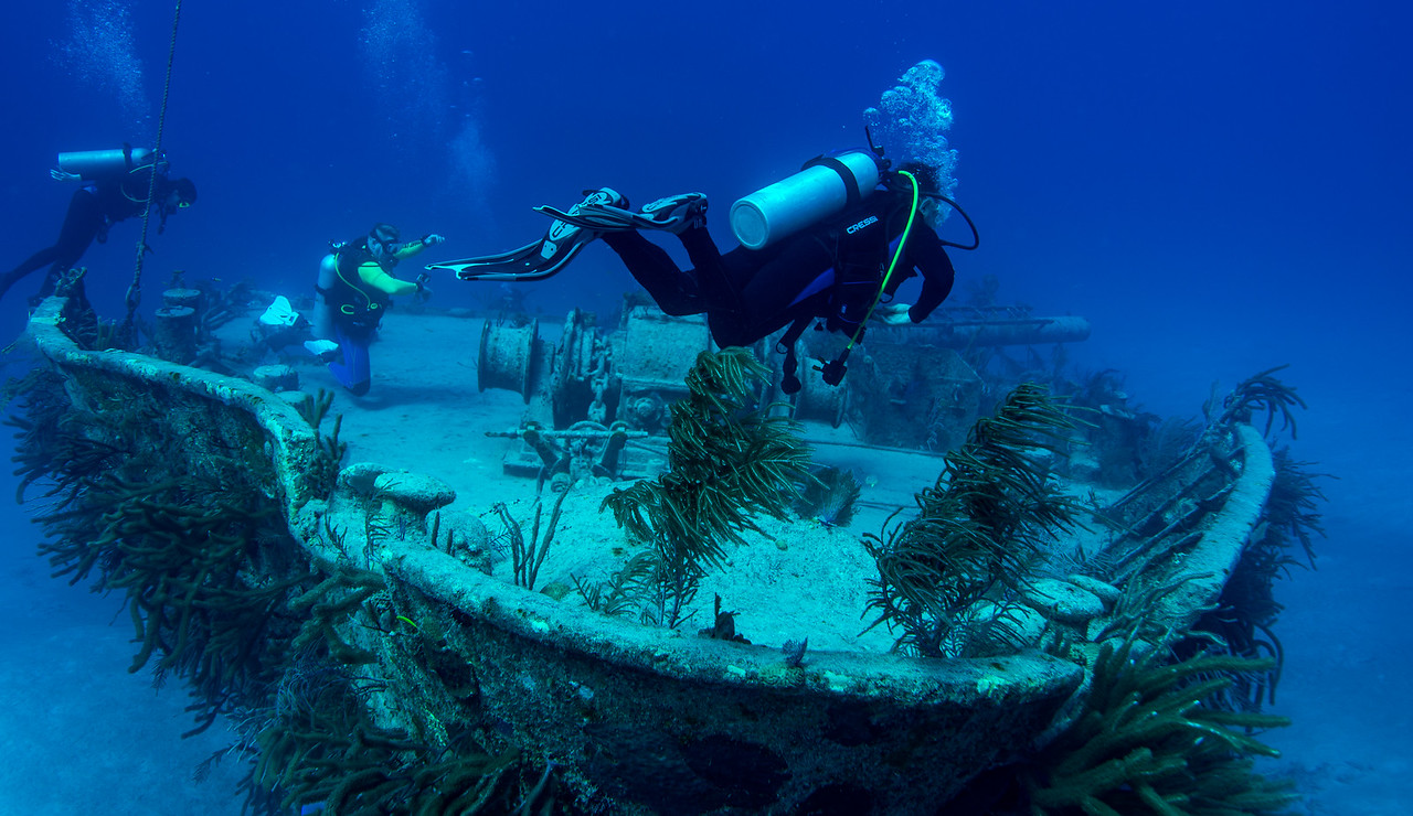 Wreck near shark dive location in Nassau, Bahamas - February 2017