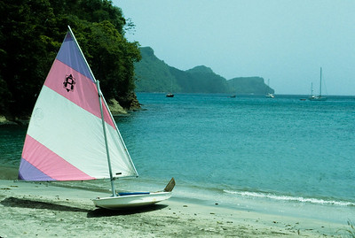 A small sailboat stands at the ready with this view of Admiralty Bay.