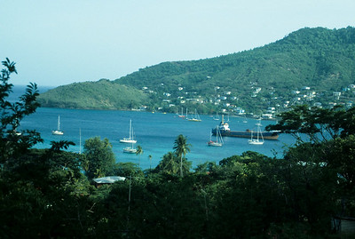 Sailboats nestle into Admiralty Bay, the main port in Bequia.
