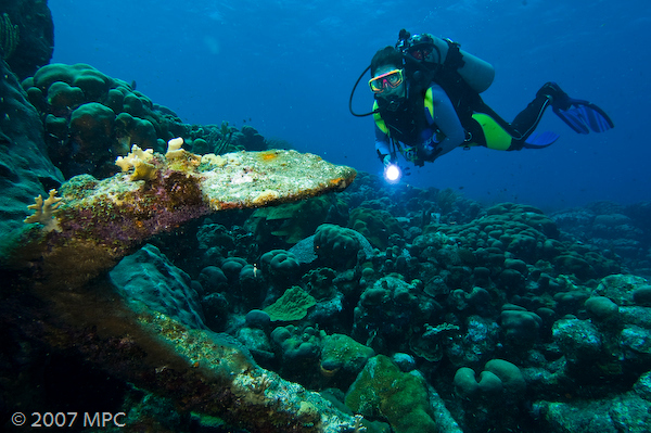 Diver with anchor at Karpata