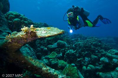 Diver with anchor at Karpata