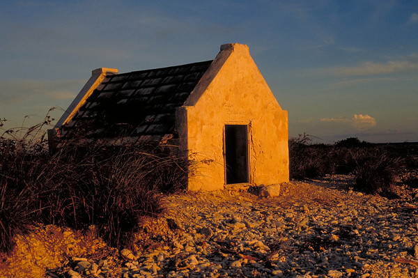 An old slave hut stands on the outskirts of the Salt Pans. Slavery was abolished in Bonaire in 1863, followed by a decline in the salt industry.