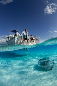 Grand Cayman, Stingray City, Boat, Split