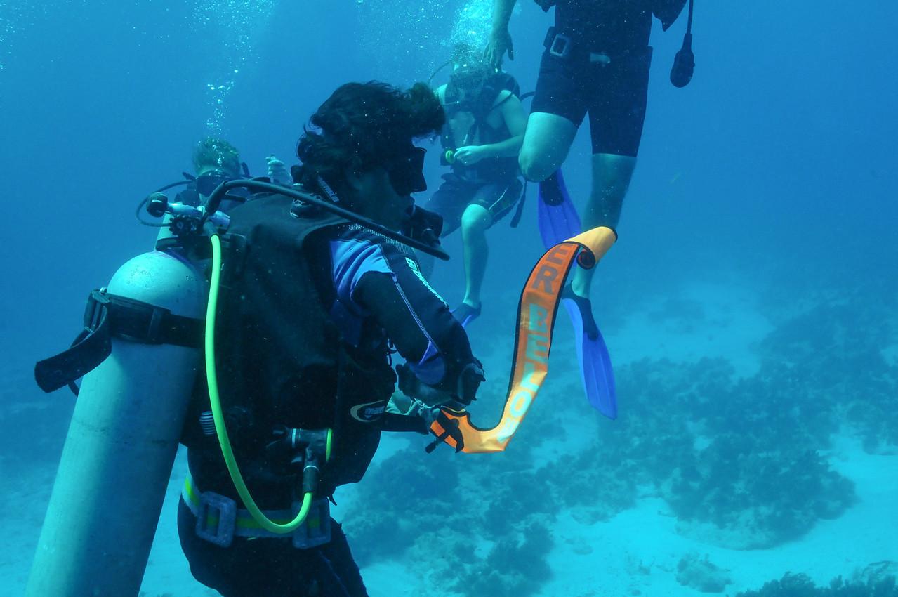 Scuba Cancun divemaster deploying the Safety Tube - November 2011