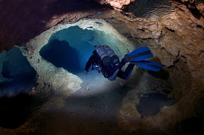 A diver explores the stunning tunnels of Peacock Springs State Park, Florida.
