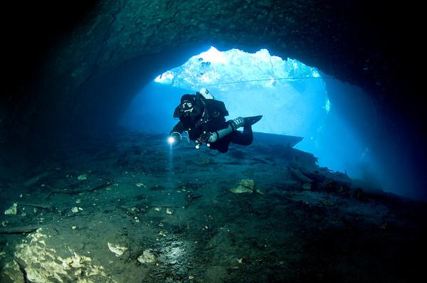 Exploring the cavern in Blue Grotto, near Williston, Florida.