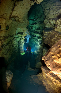 Diver Jerry Murphy exploring a little known cave in the Ichetucknee Springshed in North Florida.